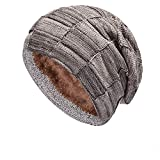 Soluo 2-Pieces Beanie Hat Scarf Set Winter Knit Skull Cap Warm Knit Hat Thick Fleece Wool Warm Slouchy (Khaki 1)