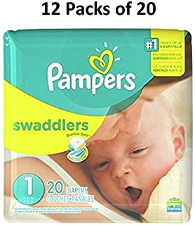 Pampers Swaddlers Size 1 (12 Packs of 20=240 count)