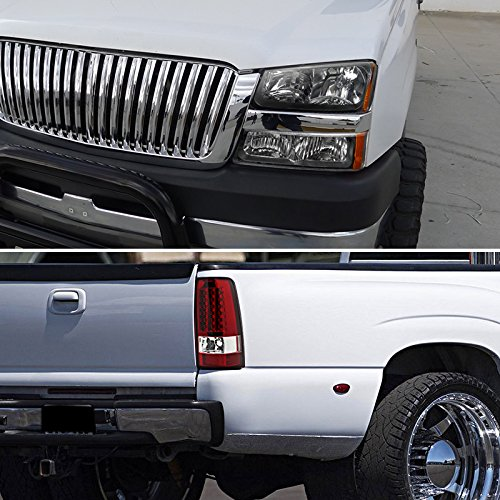 Chevy Silverado Pickup Black Headlights+Bumper Lamps+Red Lens LED Tail Lights