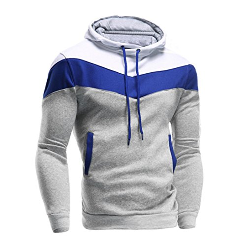 Clearance Sale!Fashion Men's Long Sleeve Patchwork Hoodie Hooded Sweatshirt Tops Jacket Coat Outwear (Gray, M)