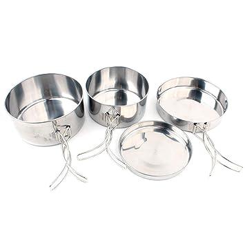 Juego de 4 sartenes de acero inoxidable para cocina al aire ...