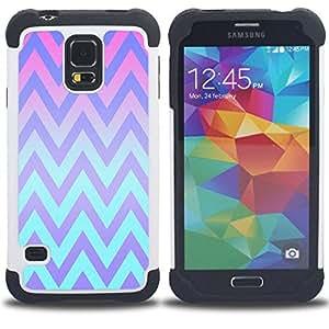 - pink teal lines pattern/ H??brido 3in1 Deluxe Impreso duro Soft Alto Impacto caja de la armadura Defender - SHIMIN CAO - For Samsung Galaxy S5 I9600 G9009 G9008V