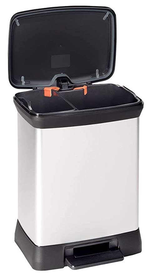 Curver Decobin Pedaal 30l.Curver Metal Effect Plastic Duo Recycle Pedal Touch Deco Bin Silver 30 Litre