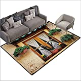 Floor Rug Pattern Shutters Basket of Flowers Historic Building Window with Classic Lace Curtain Inside Image Suitable for Outdoor and Indoor use W78 xL106 Beige Green