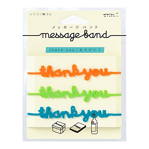 """[Midori] Silicon-based multifunctional band with message """"thank you"""""""