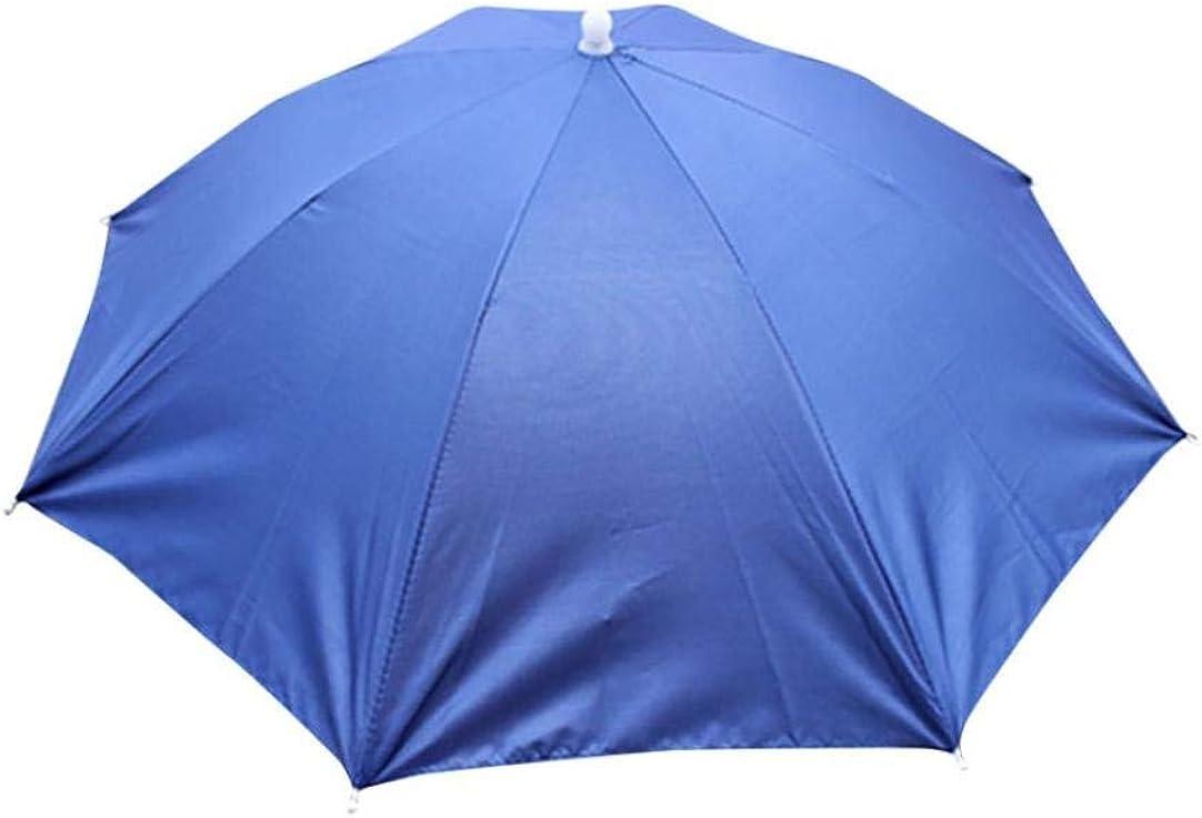 Sombrero Plegable para Mujer Y para Sombrero Paraguas Hombre para Sombrero Especial Estilo para La Lluvia Sombrero para El Sol Deporte Golf Pesca Camping Sombreros (Color : Blau, Size : One Size):