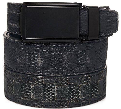 SlideBelts Men's Matte Black Leather Belt - Custom Fit (Checkered Leather with Matte Black Buckle) - Black Checkered Belt