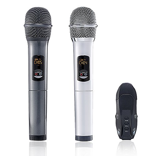 yunque K18U Microphone Dual Bluetooth with Receiver Box Various Frequency Full-Metal UHF Professional Wireless System for Home KTV Education (slive+gray)
