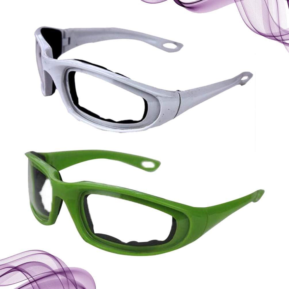 Bianco + Verde Hemoton 2 Pezzi Occhiali a Cipolla Occhiali Protettivi Occhiali Antipolvere Occhiali di Sicurezza Occhiali da Taglio Occhiali per La Protezione Degli Occhi