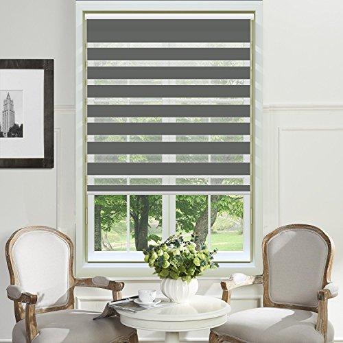 PASSENGER PIGEON Adhesive Window Shades, Premium Zebra Dual Light Filtering Horizontal Cord Loop, Dark Grey Window Blinds, 34