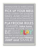 The Kids Room by Stupell Everyone Is Welcome Playroom Rules On Grey Rectangle Wall Plaque, 11 x 0.5 x 15, Proudly Made in USA