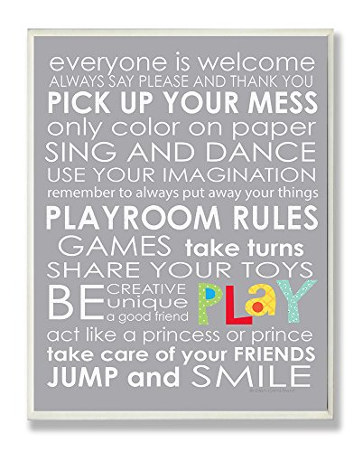 The Kids Room by Stupell Everyone Is Welcome Playroom Rules On Grey Rectangle Wall Plaque, 11 x 0.5 x 15, Proudly Made in USA by The Kids Room by Stupell