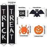Blulu Halloween Decoration Set, Trick or Treat Halloween Banner for Home Indoor/Outdoor Halloween Decorations with Halloween Paper Garlands Pumpkin Spider Bat Shape
