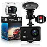 "Photo : Action Camera,Dash Cam,Amuoc 4K 16MP Ultra HD 170°Wide Angle/ 2"" LCD IPS Screen/ Add 2.4G Remote/ 30m Waterproof / WiFi Underwater Video Cam for Cycling With 21 Accessories Kits (Black)"