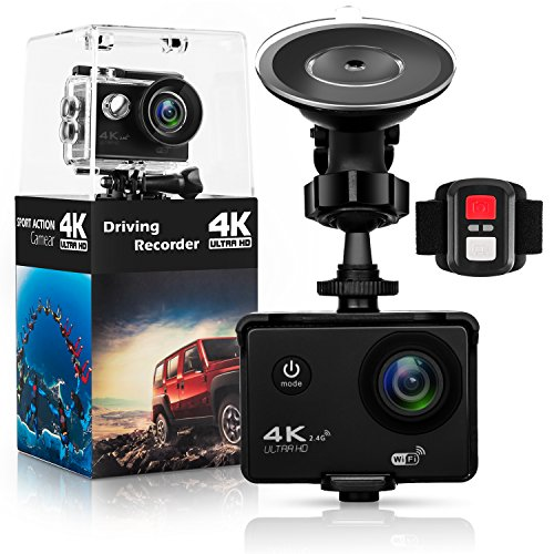 Action Camera,Dash Cam,Amuoc 4K 16MP Ultra HD 170°Wide Angle/ 2' LCD IPS Screen/ Add 2.4G Remote/ 30m Waterproof / WiFi Underwater Video Cam for Cycling With 21 Accessories Kits (Black)
