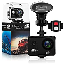 """Action Camera,Dash Cam,Amuoc 4K 16MP Ultra HD 170°Wide Angle/ 2"""" LCD IPS Screen/ Add 2.4G Remote/ 30m Waterproof / WiFi Underwater Video Cam for Cycling With 21 Accessories Kits (Black)"""