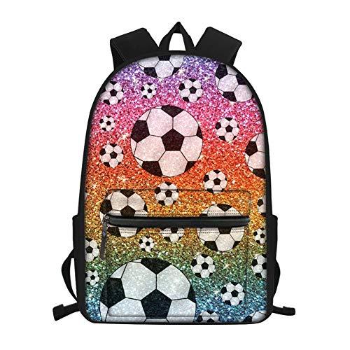 (UNICEU Boys Colorful School Bag Soccer Ball Print Stylish Daypack Backpack Back to School Zipper Bookbag Knapsack)