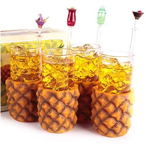 CKB Ltd Pack Of 4 Retro Pineapple Cup Holders With Highball Glasses 285Ml - Vintage Hawaiian Fruit Themed - Gift Boxed - Ideal For Ideal For A Cocktails & Rum Mixed Soft Drinks