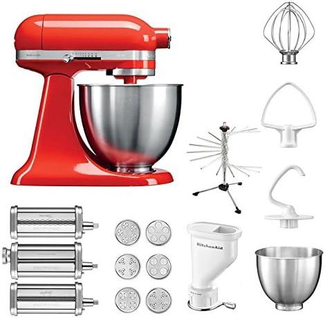 KitchenAid Robot de cocina mini, 5 ksm3311 X E, pasta del paquete incluye Top accesorios: Pasta Snoot con 3 rodillos, pasta Prensa (Corto) con 6 boquillas, nudeltrockner y accesorios estándar Hot Sauce: Amazon.es: Hogar
