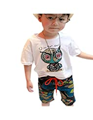 Lymnshi Boys Summer Cartoon Owl Short Sleeve T-shirt + Casual Pants Short Sets