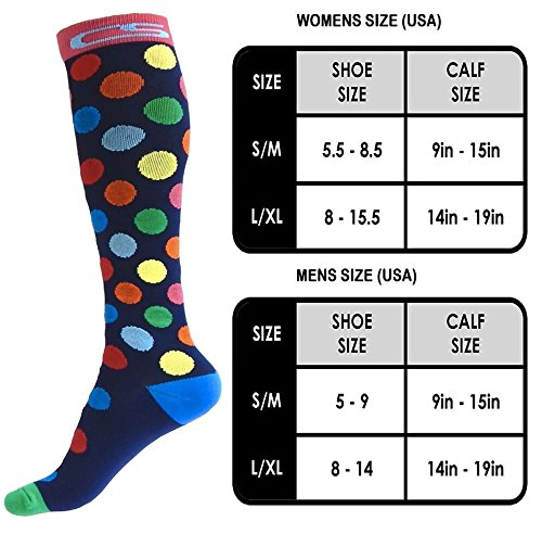Compression Socks for Men & Women - BEST Graduated Athletic Fit for Running, Nurses, Shin Splints, Flight Travel, Maternity Pregnancy - Boost Stamina, Circulation & Recovery (Cool Dots, S/M) by Cool Sox (Image #3)