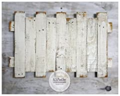 "DISTRESSED WHITE PAINTED MULTI PLANK PALLET WALL HANGING WITH LIGHT BROWN ACCENTSThis panel is available in 6 sizes 5 Vertical Planks .......... 18"" x 17"" Price 55.00 7 Vertical Planks .......... 23"" x 17"" Price 70.00  9 Vertical Planks ........"