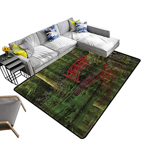 (Lake House Mansion Decorations Area Rug Carpet Red Chinese Bridge in a Forest of Green Tree Leaves Reflection on River Art Door mat 6'6