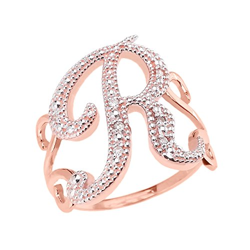 10k Rose Gold Modern Cursive ''R'' Diamond Initial Ring (Size 6) by Initial Rings