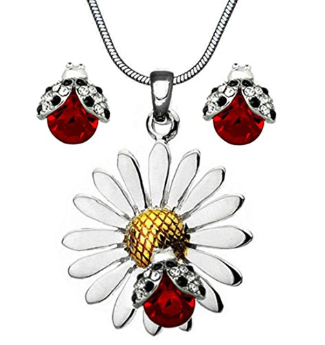 DianaL Boutique Beautiful Silvertone Daisy Flower Ladybug Pendant Necklace and Earrings Stud Set 19