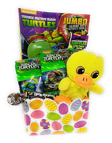 Happy Easter Basket Kids Toddlers Gift Children Pre Made Eggs Goodies Candy Baskets Teenage Mutant Ninja Turtles Mega Blocks
