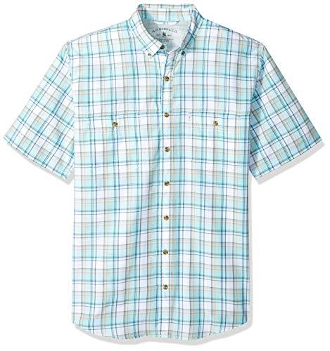 G.H. Bass & Co. Men's Big and Tall Explorer Short Sleeve Fishing Shirt Plaid Button Pocket, Aqua Splash 1, 4X-Large
