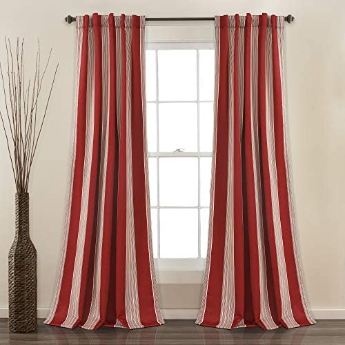 Lush Decor Julia Stripe Room Darkening Window Curtain Panel Pair