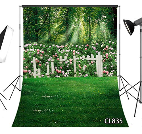 LB Spring Rose Flower Backdrop 6x9FT Fabric Green Grass Woods Photo Background for Wedding Birthday Easter Party Decoration Kids Children Adult Photo Booth Studio Props,Washable