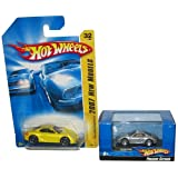 Hot Wheels Porsche Cayman Set: Silver 1:87 Scale in a Display Case 1:87 & Yellow #32 '07 1st Edition 1:64 Scale Collectible Die Cast Cars