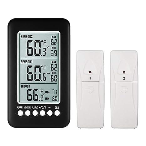 NeKan Termómetro Exterior Interior Termómetro Digital LCD Gran Pantalla Termómetro Inalámbrico (2 transmisors)