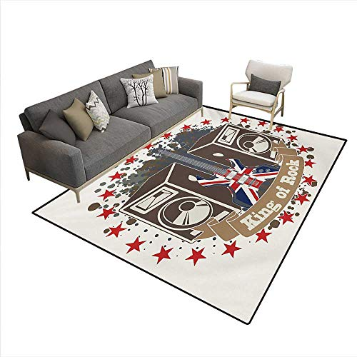 Rug,King Rock Label Speakers Stars Electric Guitar British Flag,Area Carpet,Multicolor,6'6
