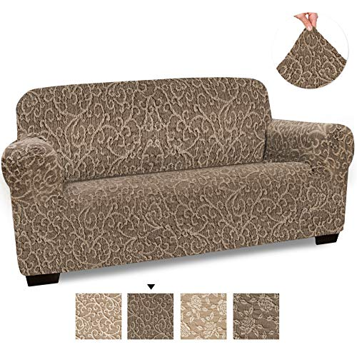 - Loveseat Cover - Loveseat Slipcovers - Loveseat Couch Covers - Cotton Fabric Slipcovers - 1-piece Form Fit Stretch Stylish Furniture Cover - Jacquard 3D Collection - Brown Arabesco (Loveseat)