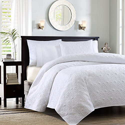 Country Twin Size Bed - Madison Park Quebec Twin/Twin Xl Size Quilt Bedding Set - White, Damask – 2 Piece Bedding Quilt Coverlets – Ultra Soft Microfiber Bed Quilts Quilted Coverlet