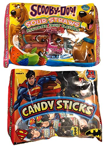 Candy Sticks, Sour Straws for Kids; Candy Sticks (Batman, Superman), Sour Straws (Scooby-doo); Classroom Gifts; Individually Packaged Snack Pack, Party Favors, Treats; 2-pc