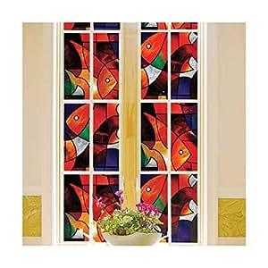 Color Orange Fish Design Stained Glass Window Glass Film