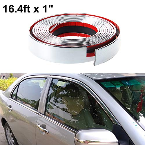 Chrome Decoration - ALAVENTE Car Chrome Moulding Trim Strip Auto DIY Exterior Decoration PVC Tape for Window Bumper Grille Guard Protection (5m × 25mm, 16.4ft x 1