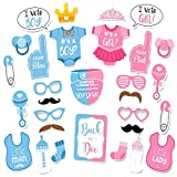 Baby Boy Girl Birthday Photo Booth Props kit 25pcs Newborn Baby Shower Party Anniversary Supplies (pink-blue)