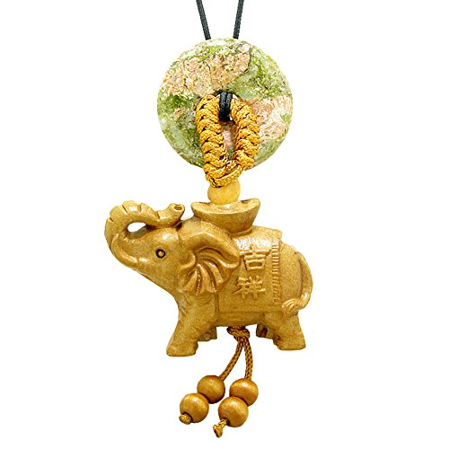 Good Luck Elephant Money Ingot Car Charm or Home Decor Unakite Lucky Coin Donut Protection ()