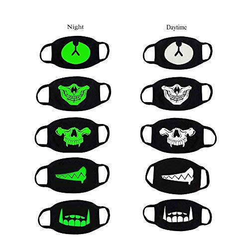 Aolvo Glow Kpop Face Mask Reusable Cool Luminous Mouth Mask Korean EXO Mask Unisex Anti-dust Black Cotton Motorcycle Face Mask with Fashion Pattern for Kid Teen Man and Woman, 5 Pack -
