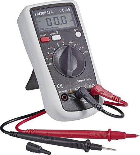 Voltcraft Digital Hand-held Multimeter, Model: VC165, True RMS Measurement, 2000 Counts, AC/DC, CAT III 600V, Voltage Range up to 600V, Rubber Housing, 9V Battery Included