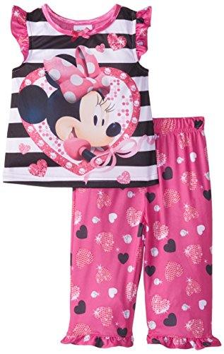 AME Sleepwear Baby Girls' Minne Mouse Hearts and Bling 2 Piece Pajama Set, Pink, 18 Months