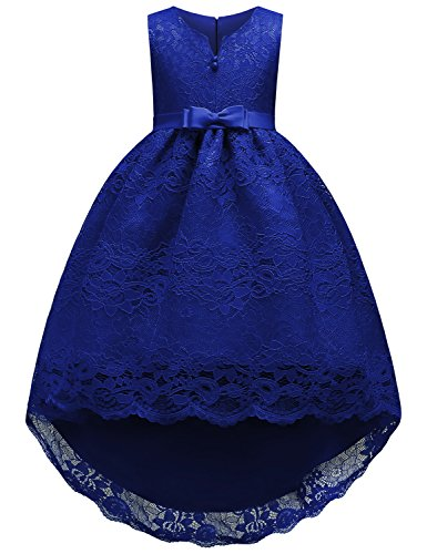 JOYMOM Gala Dresses Girls, Kids Button Trim O Neck Fluffy A Hemline High Low Tailed Dress Pleated Outside Lace Flower Layer Spring Autumn Romantic Cute Pageant Gowns Blue (Spring Flowers Clothing)