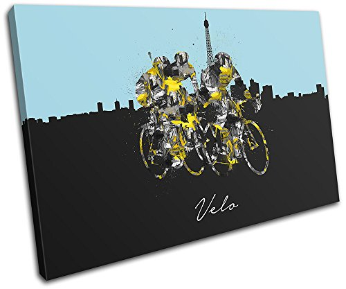 (Bold Bloc Design - Cycling Tour Velo France Sports 75x50cm SINGLE Canvas Art Print Box Framed Picture Wall Hanging - Hand Made In The UK - Framed And Ready To Hang)