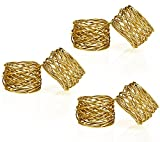 Handmade Gold Round Mesh Napkin Rings Holder for Dinning Table Parties Everyday, Set of 6