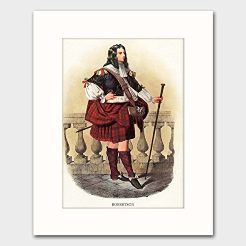 Robertson Clan, Family Name Art w/Mat (Scotland Wall Decor, Surname Artwork, Scottish Highland Dress) Matted Print (Print Scotland Vintage)